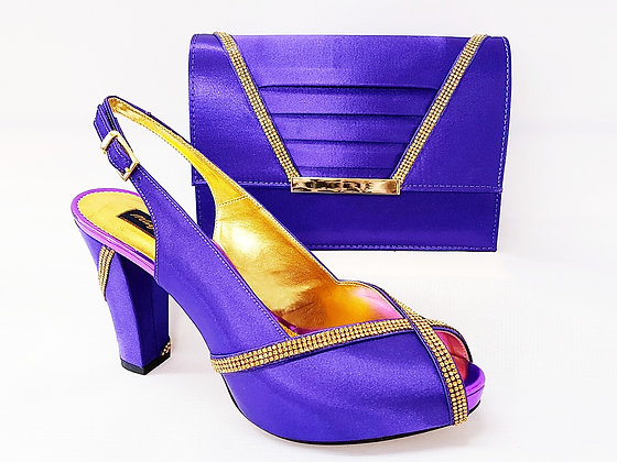 Lucia, purple Mary Shoes mid-height platform shoes and matching bag set
