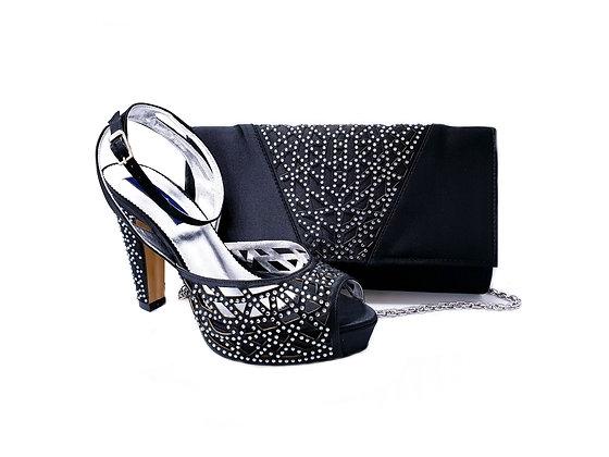 Alexa, Mary Shoes black laser-cut high heel wedding shoes and matching bag set