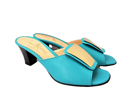 Leyla turquoise mid-height leather sandals