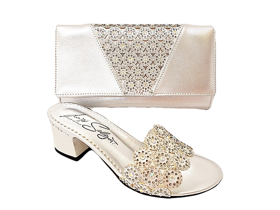 Fiorella, silver laser-cut mid-height wedding sandals and matching bag