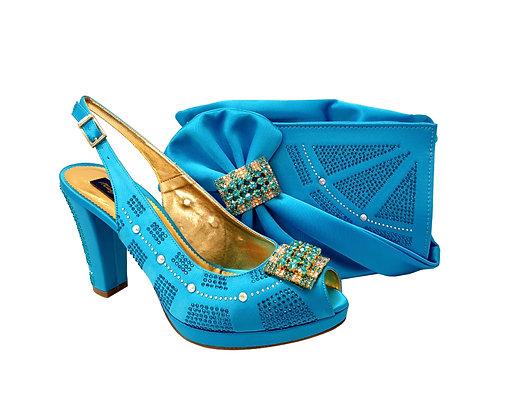 Emma, MaryShoes turquoise mid-height wedding shoes and matching bag set