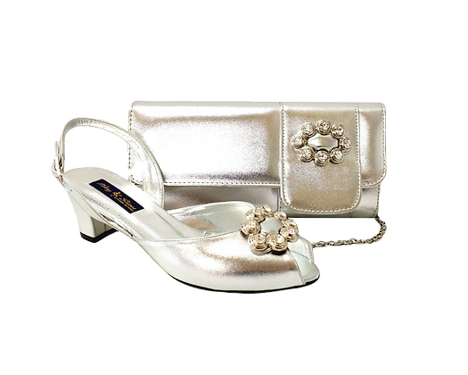 Francesca, Mary Shoes silver low heel wedding shoes and matching bag set