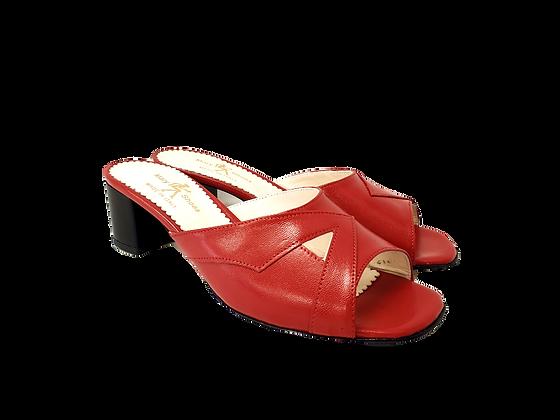 Barbara, red mid block heel sandals