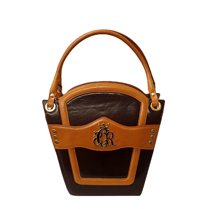 Cerruti 'Crown' brown and camel limited edition leather handbag