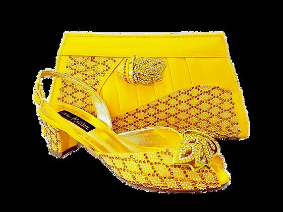 Chiara, yellow stone adorned low heel wedding shoes and bag