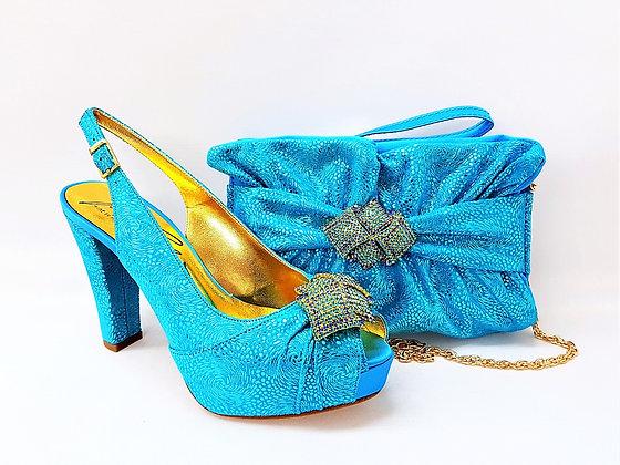 Pippa, Salgati turquoise high heel platform shoes and matching set