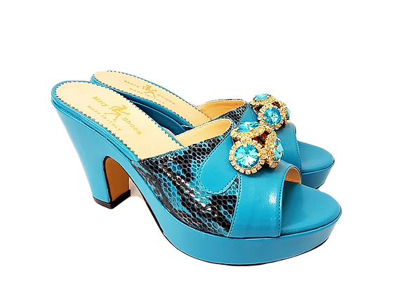 Turquoise Mary Shoes croc-effect leather sandals