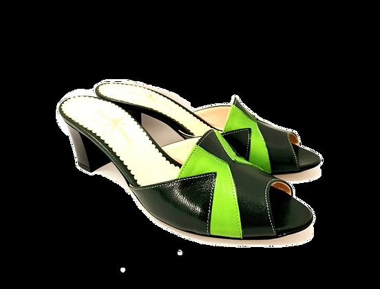 Alice, dark green and lemon mid block heel sandals