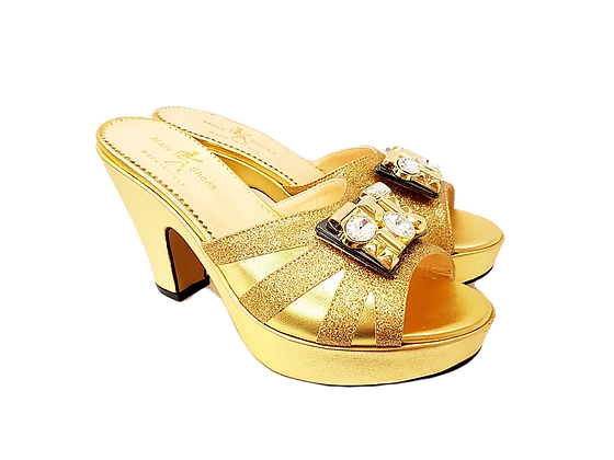 Gold Mary Shoes platform leather sandals