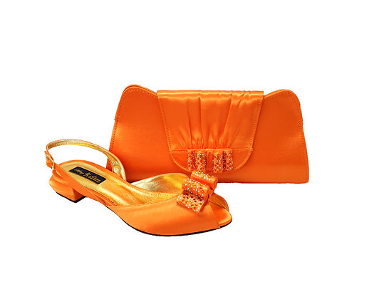 Ava, Mary Shoes orange very low wedding shoes and matching bag