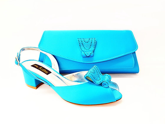 Poppy, turquoise Mary Shoes low chunky heel wedding shoes and bag set