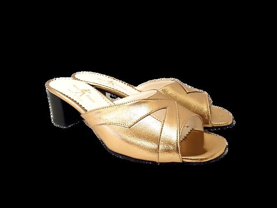Barbara, gold mid block heel sandals