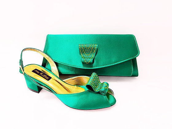 Poppy, green Mary Shoes low chunky heel wedding shoes and bag set