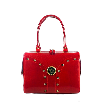 Shapes, Cerruti mid-shaped red leather tote bag