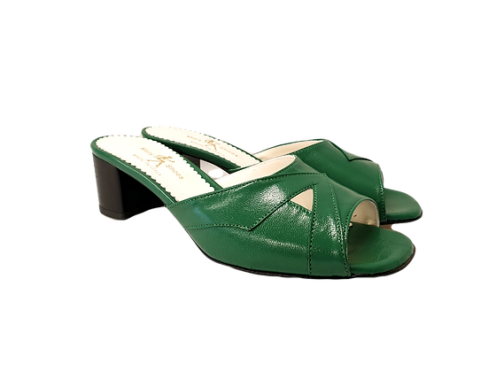 Barbara, green mid block heel sandals