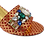 Thumbnail: Valerie, jewel embellished red-gold low wedding sandals and matching bag