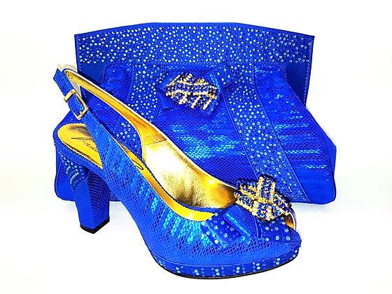 Sharon, Salgati blue mid-height platform shoes and bag set