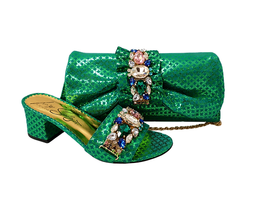 Valerie,  jewel embellished green wedding sandals and matching bag