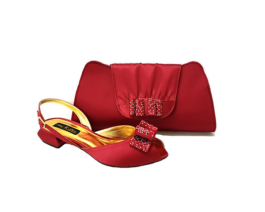 Ava, Mary Shoes burgundy very low wedding shoes and matching bag