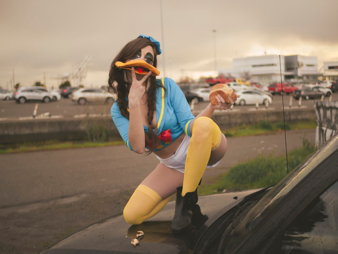 """Donna Duck at the Bay Bridge Toll Plaza, Photo 1"" // Radio Beach, Oakland, CA - Spring 2019"
