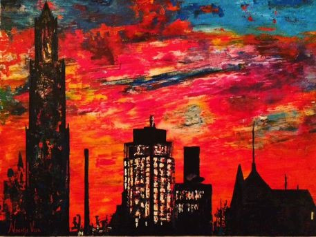 sunset in the city 60x80.JPG