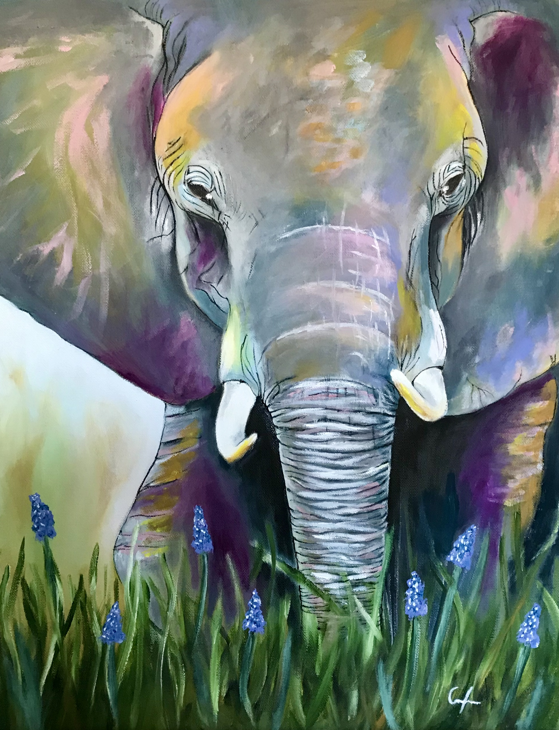 Abstract Elephant Oil Painting // 16 x 20 - 2020