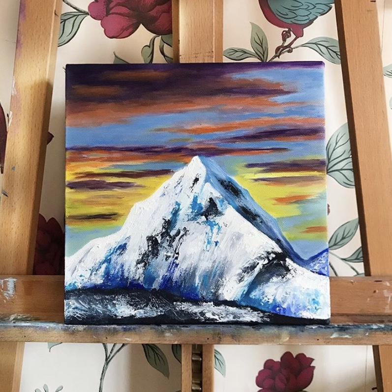 Abstract Mountain Oil Painting // 25.2cm x 25.2cm - 2019