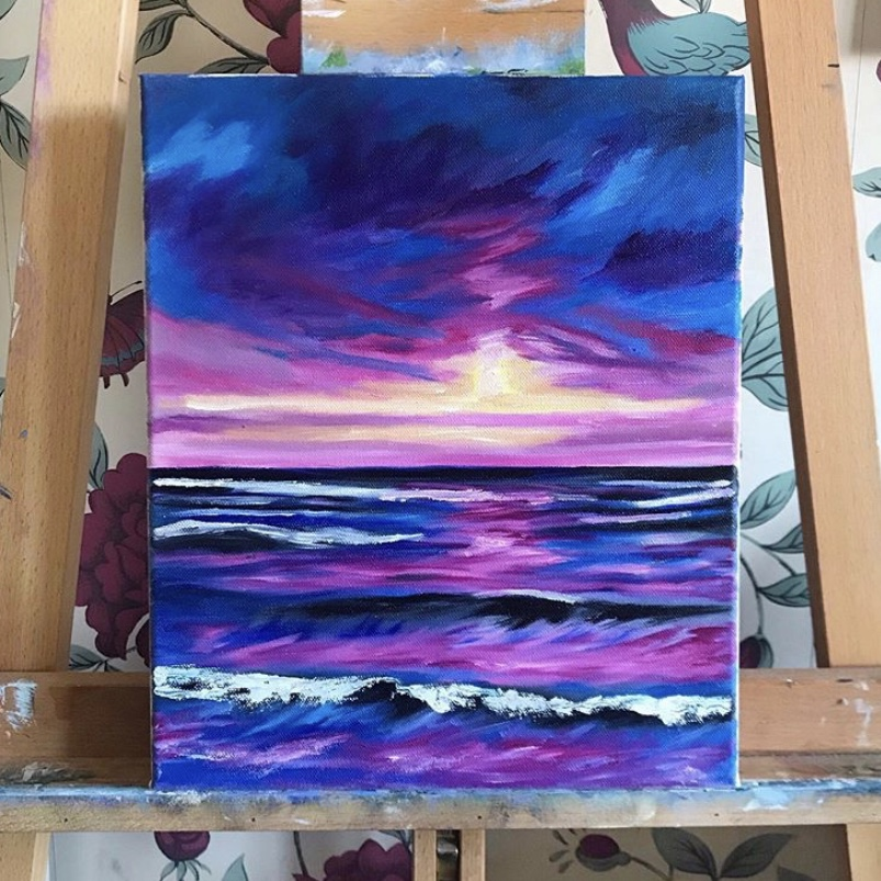 Seascape Oil Painting Abstract Art // 24.5cm x 30.2cm - 2019