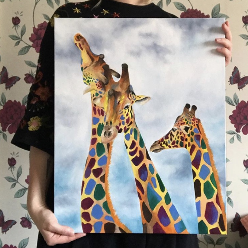 Abstract Giraffe Oil Painting // 20 x 15.9 - 2019