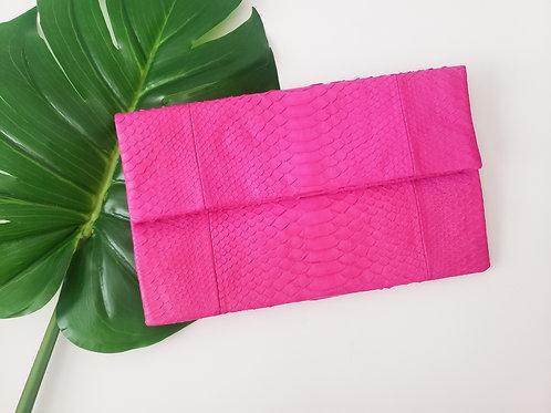 Hot Pink Python Clutch