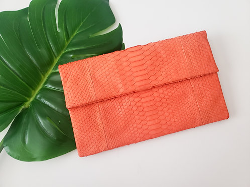 Mandarin Orange Python Clutch