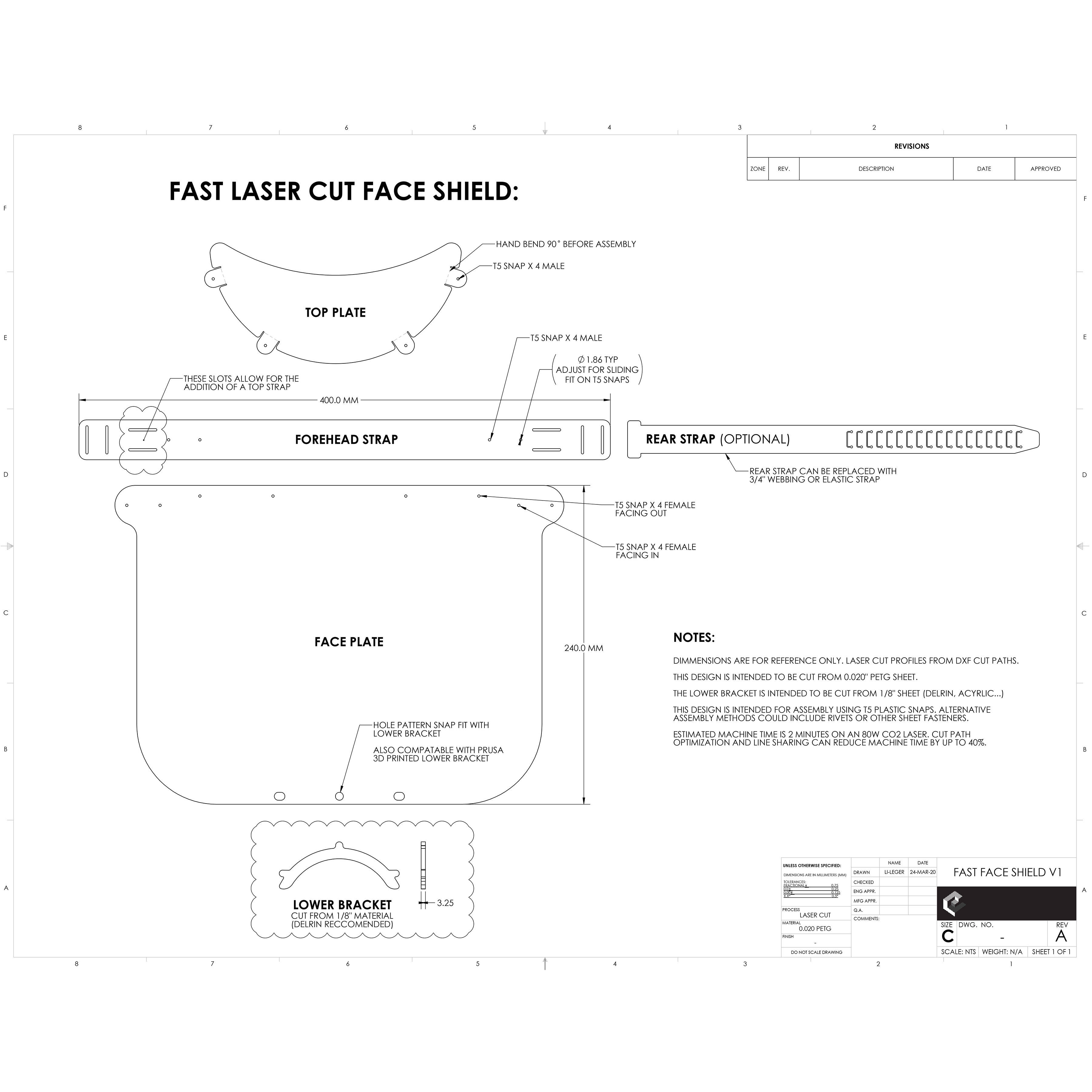 Fast Face Shield V1 Cut Path Overview