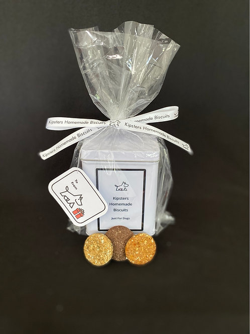 Gift Tin + a refill bag of Crunchy Herb Bite Size Biscuits