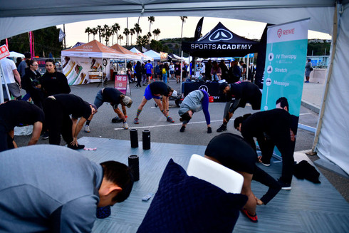 Stretching before the Malibu Race.
