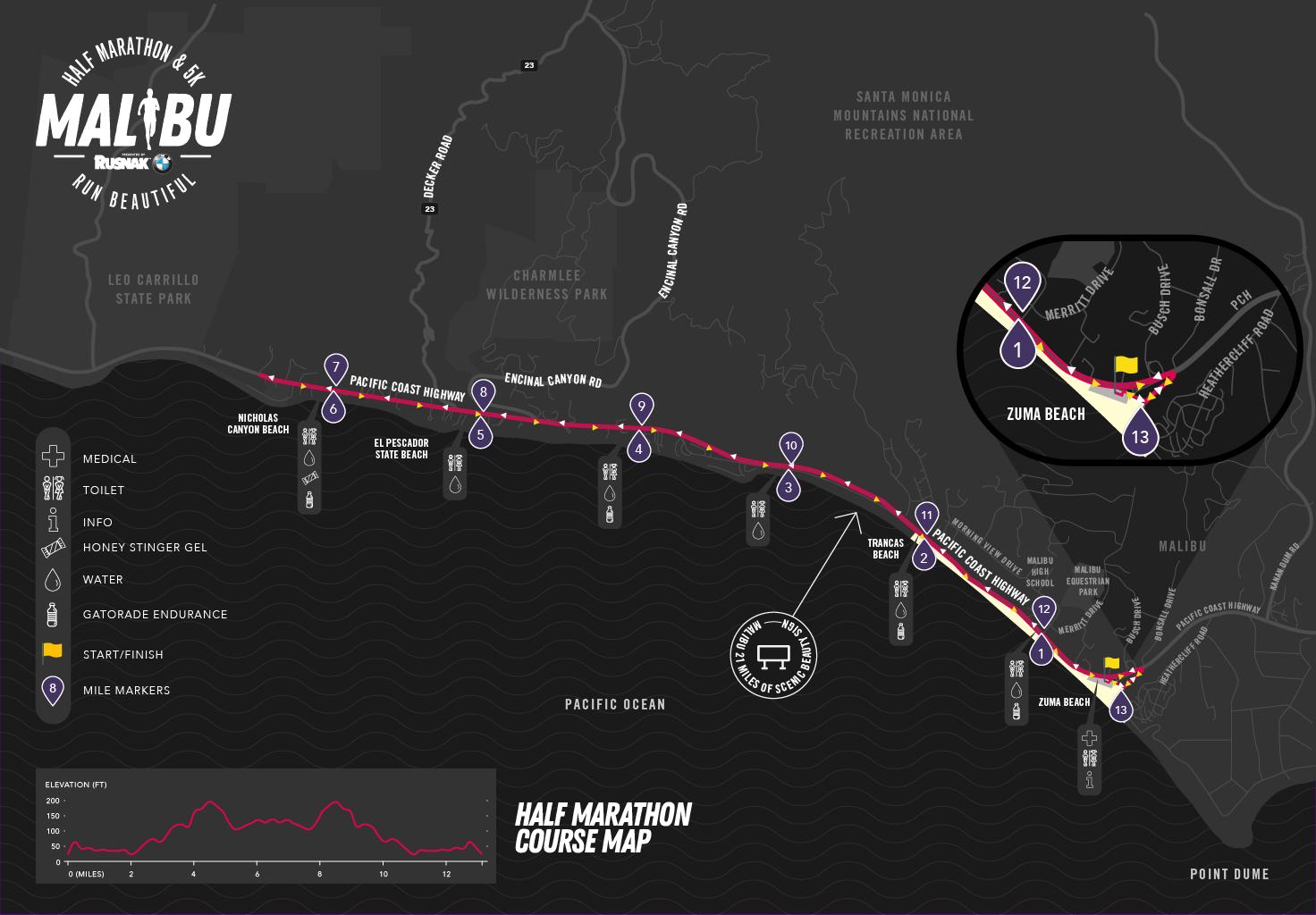 Malibu Half Marathon Course Map