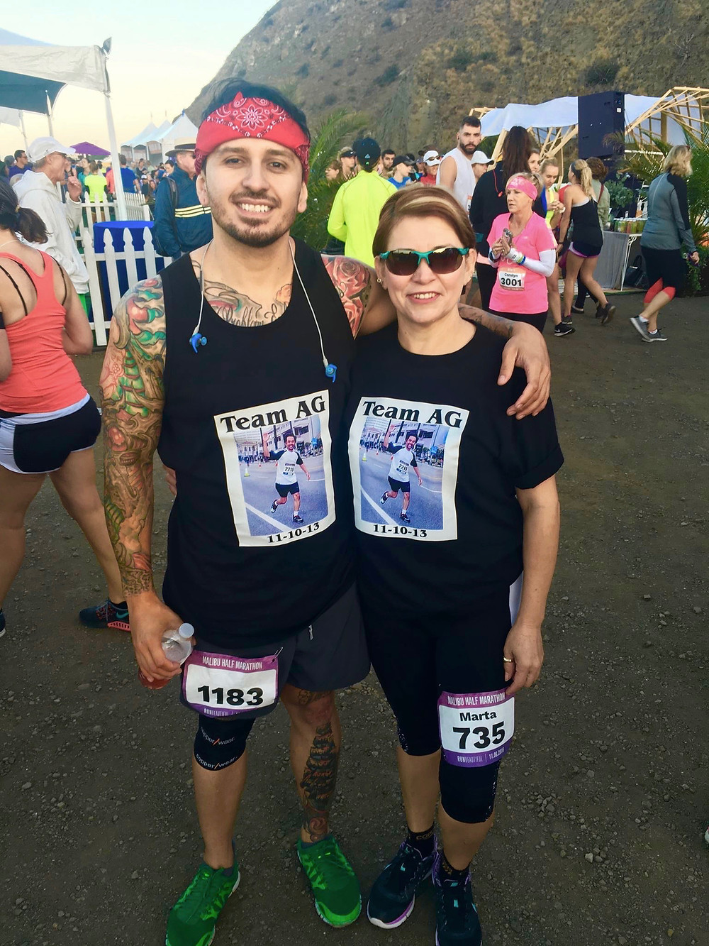 Marta and Cesar at the start line of the 2016 Malibu Half Marathon