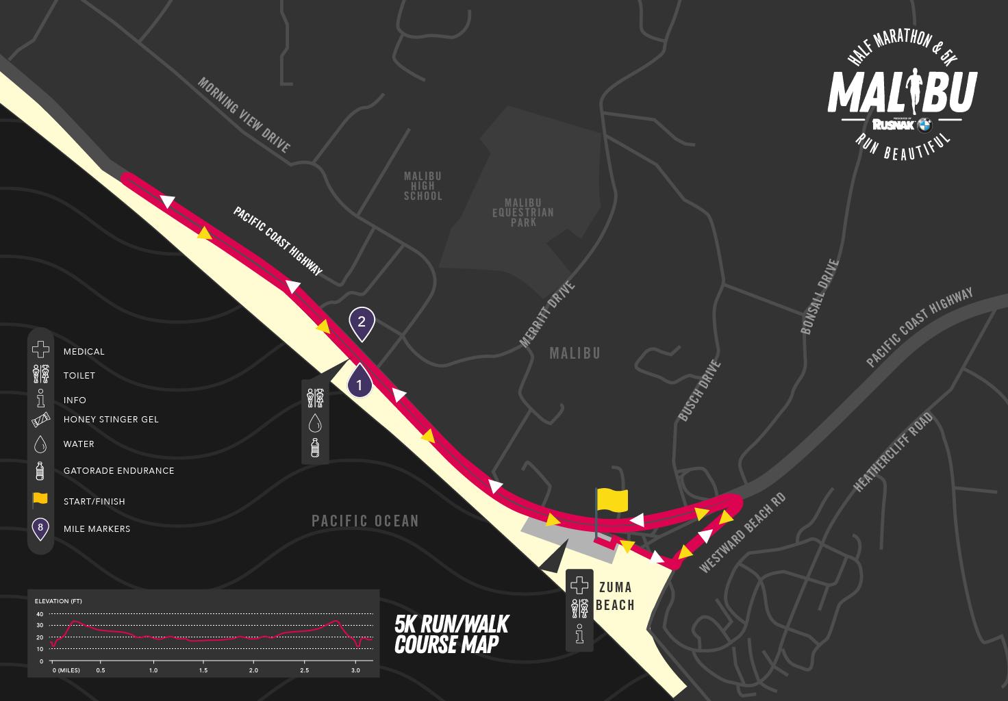 Malibu 5K course map