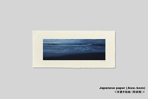 手漉き和紙,写真,風景,海,インテリアフォト,砂浜,波,おしゃれ,アートフレーム,壁掛け,額装,横長,和室,壁飾り