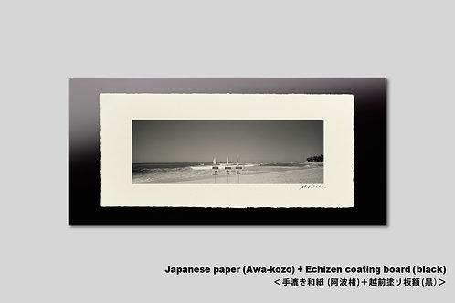 Bronzeハワイ オワフ島ビーチ。手漉和紙額装