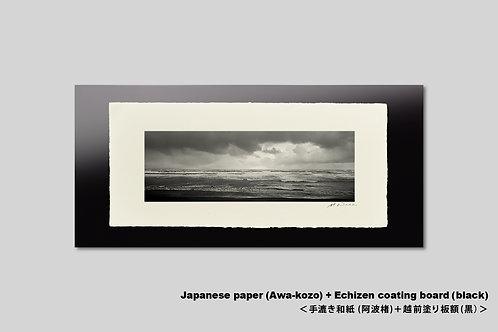 手漉き和紙,写真,風景,海,インテリア,モノクロ,日本海,和室,横長,おしゃれ,アートフレーム,壁掛け,額装,アートポスター,壁飾り