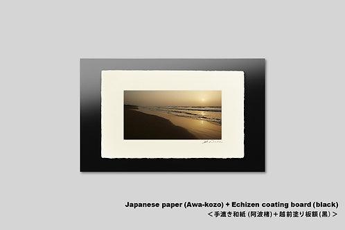 手漉き和紙,インテリア,写真,海,インテリアフォト,日本海,砂浜,夕日,夕景,和室,おしゃれ,プレゼント,アートフレーム,壁掛け,額装,アートポスター,壁飾り