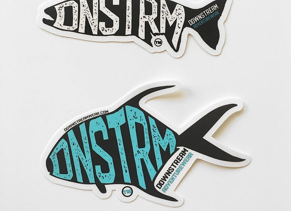 Downstream Permit/Trout Script Sticker