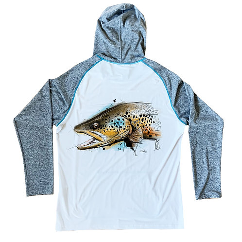 """Downstream Limited Sun Hoodie """"Street's Brown Trout"""""""
