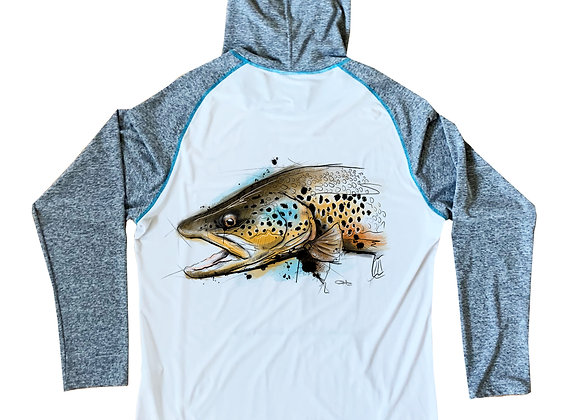 "Downstream Limited Sun Hoodie ""Street's Brown Trout"""
