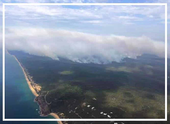 Fire Front to the South of Agnes Water - Courtesy of Kirsten Potter