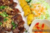 Grilled Pork & Spring Rolls on vermicelli Vietnaese food