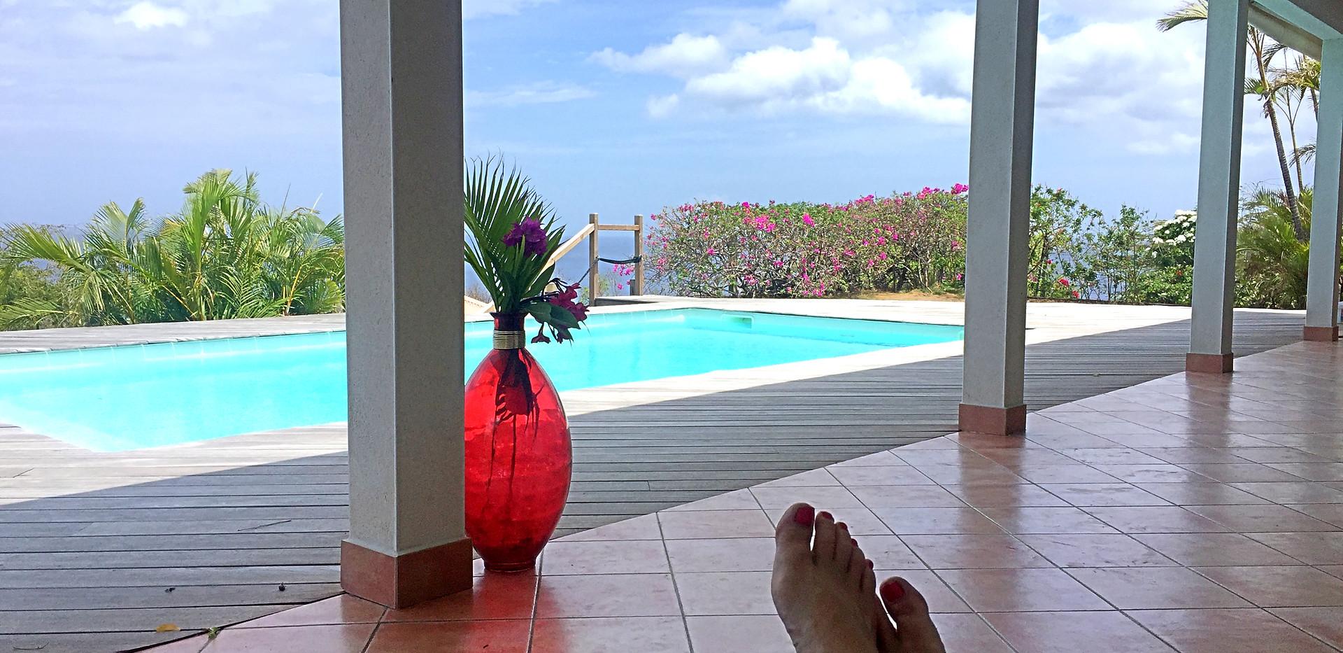 vue piscine et mer