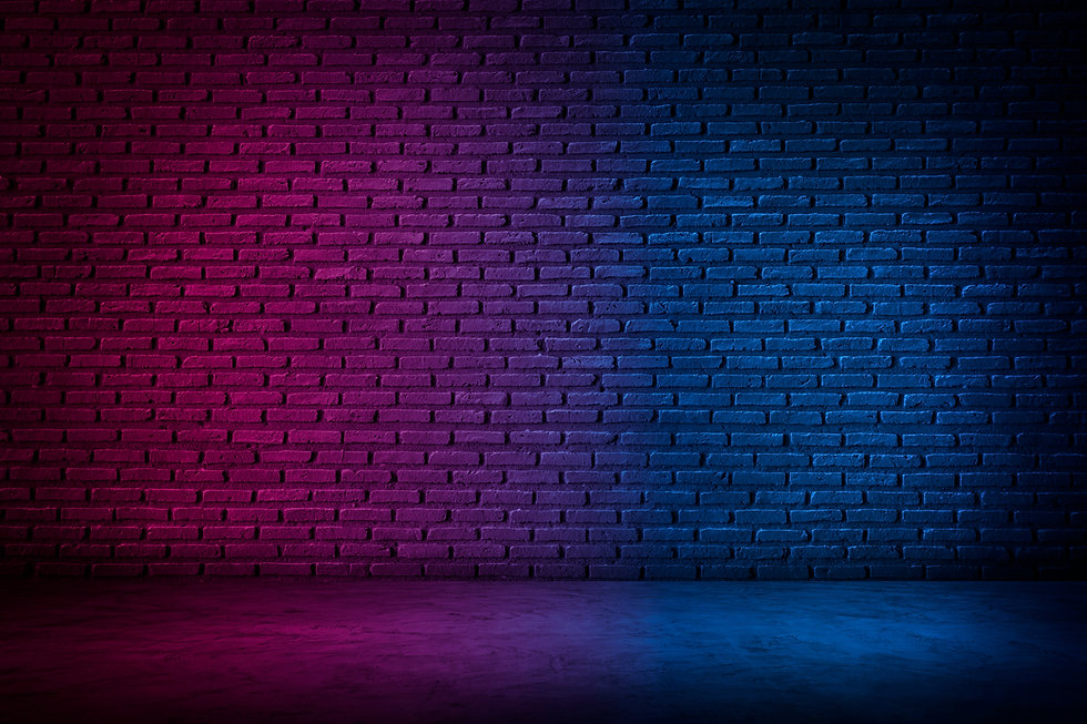 Lighting Effect red and blue on brick wall for background party happiness concept , For sh