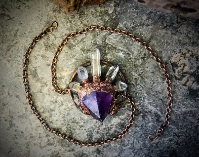 Raw Crystal and Copper Electroform Jewelry Design