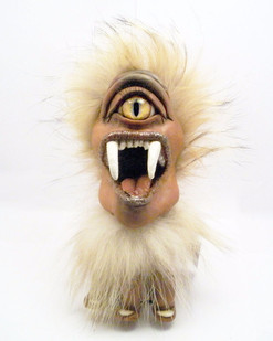 Bobble head (Hobble Bobble) - Clay formed around skull using real fur and glass eye.